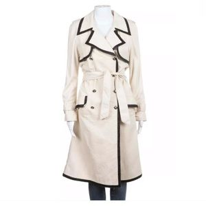 Chanel Leather jacket size 4 cream navy trench
